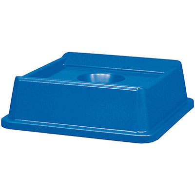 "Rubbermaid FG279100DBLUE 20-1/8"" Square Untouchable Bottle/Can Recycling Top - Dark Blue"