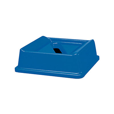 "Rubbermaid FG279400DBLUE 20-1/8"" Square Untouchable Paper Recycling Top - Dark Blue"