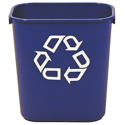 Rubbermaid FG295573BLUE 13-5/8-qt Deskside Recycling Container - Dark Blue