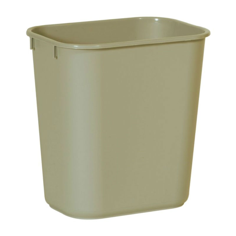 Rubbermaid FG295500BEIG 13.625-qt Rectangle Waste Basket - Plastic, Beige