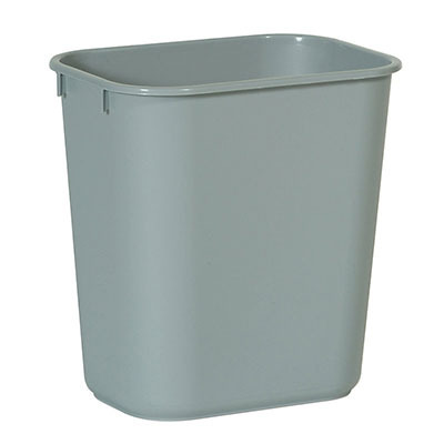 Rubbermaid FG295500GRAY 13.625-qt Rectangle Waste Basket - Plastic, Gray