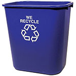 Rubbermaid FG295673BLUE 28-qt Deskside Recycling Container - Blue