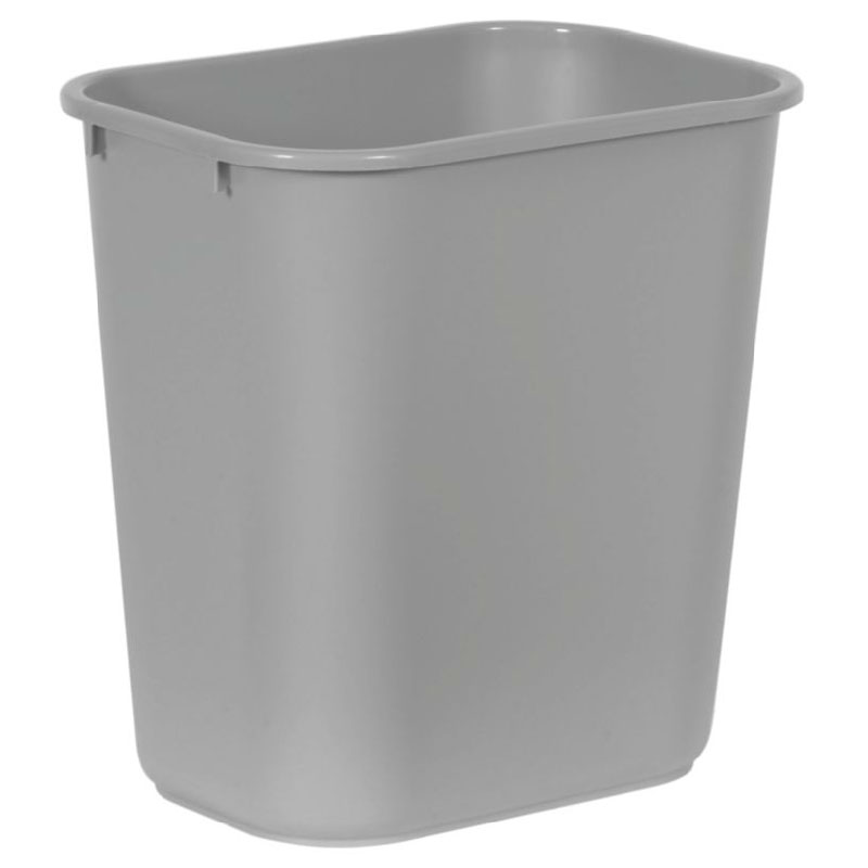 Rubbermaid FG295600GRAY 28.125-qt Rectangle Waste Basket - Plastic, Gray