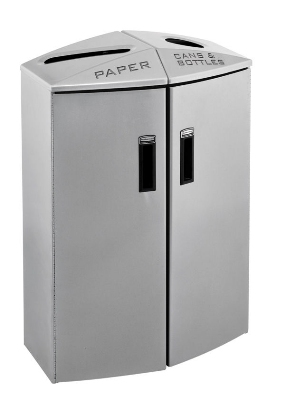 Rubbermaid 3485991 23-gal Recycling Station - Plastic Liner, Silver Metallic