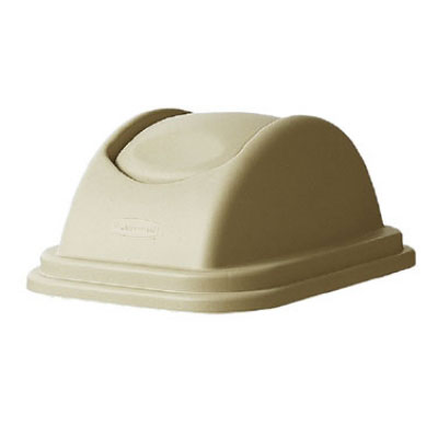 Rubbermaid FG306700BEIG Rectangle Swing Top Trash Can Lid - Plastic, Beige