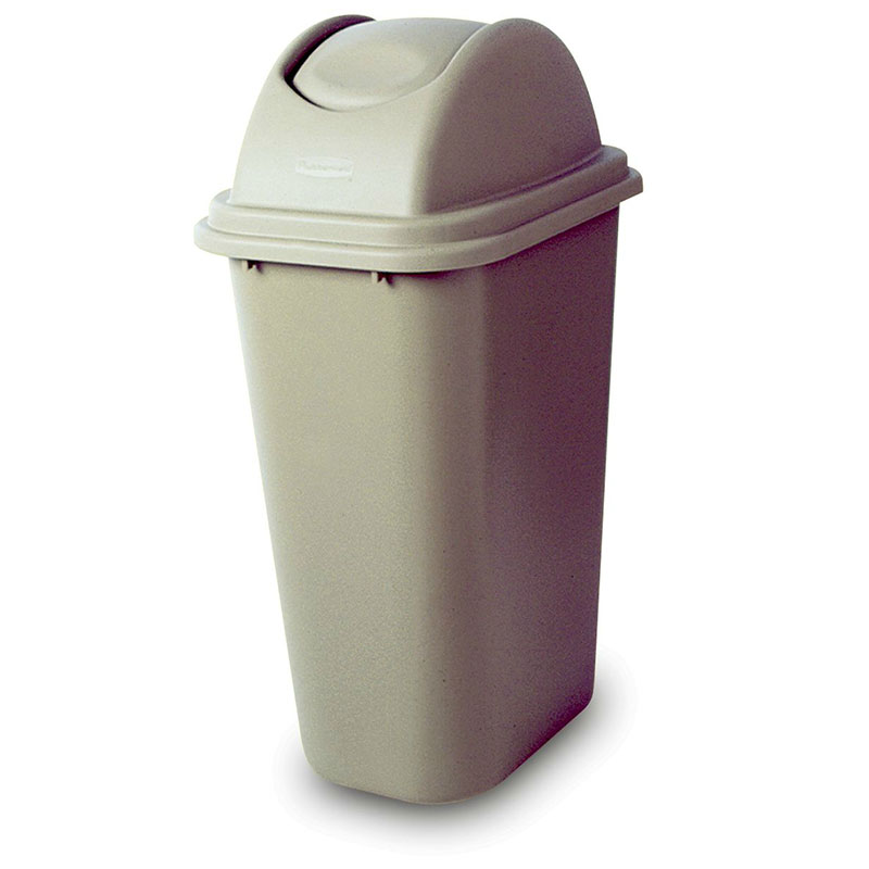 Rubbermaid FG307120BEIG 41.25-qt Rectangle Waste Basket - Plastic, Beige