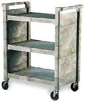 "Rubbermaid FG335588PLAT 3-Shelf Utility Cart - 31-x18x37-1/2"" Platinum"