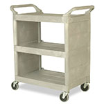 "Rubbermaid FG335588PLAT 3-Shelf Utility Cart - 31-x18x37-1/2"" Platinum"