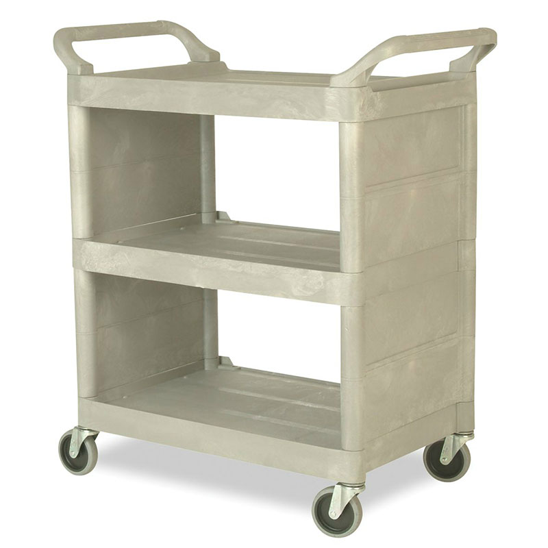 "Rubbermaid FG335588PLAT 31""L Polymer Bus Cart w/ (3) Levels, Shelves, Platinum"