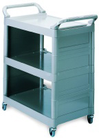 "Rubbermaid FG342100PLAT 3-Shelf Utility Cart - 33-5/8x18-5/8x36-3/4"" Platinum"