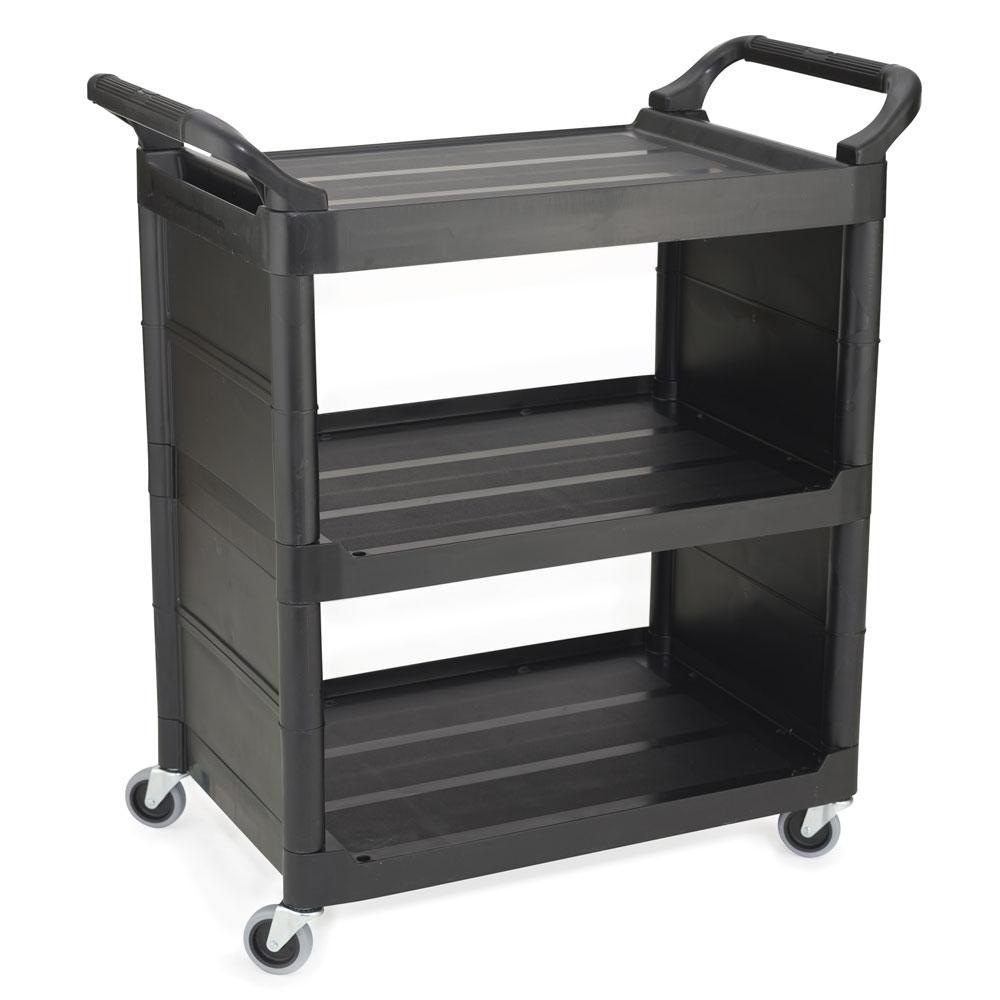 "Rubbermaid FG342100BLA 3-Shelf Utility Cart - 33-5/8x18-5/8x36-3/4"" Black"