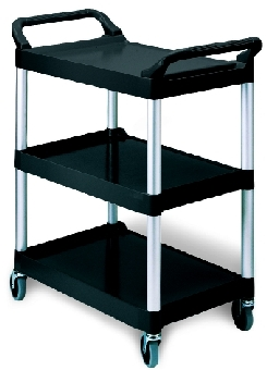 "Rubbermaid FG342488PLAT 3-Shelf Utility Cart - 33-5/8x18-5/8x36-3/4"" Brushed Aluminum/Platinum"