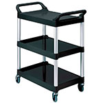 Rubbermaid FG342488BLA 3-Level Polymer Utility Cart w/ 200-lb Capacity, Raised Ledges