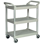 Rubbermaid FG342488PLAT 3-Level Polymer Utility Cart w/ 200-lb Capacity, Raised Ledges