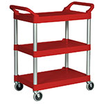 "Rubbermaid FG342488RED 3-Shelf Utility Cart - 33-5/8x18-5/8x36-3/4"" Brushed Aluminum/Red"