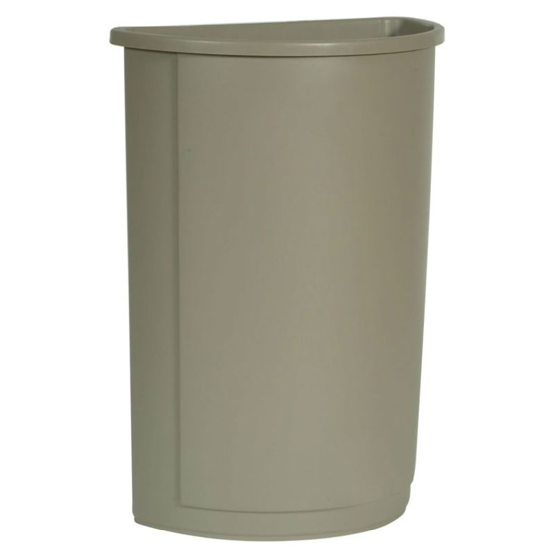Rubbermaid FG352000BEIG 21-gallon Commercial Trash Can - Plastic, Half Round, Food Rated