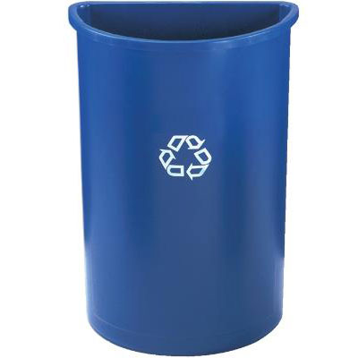 Rubbermaid FG352073BLUE 21-gal Half-Round Recycling Container - Blue