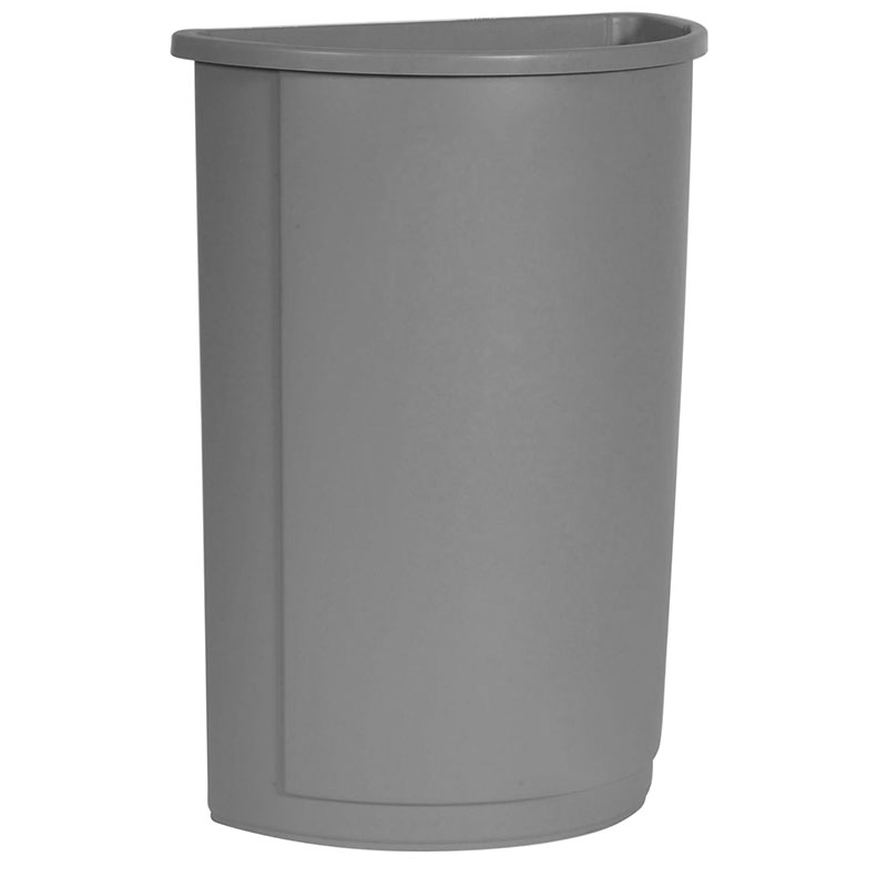 Rubbermaid FG352000GRAY 21-gallon Commercial Trash Can - Plastic, Half Round, Food Rated