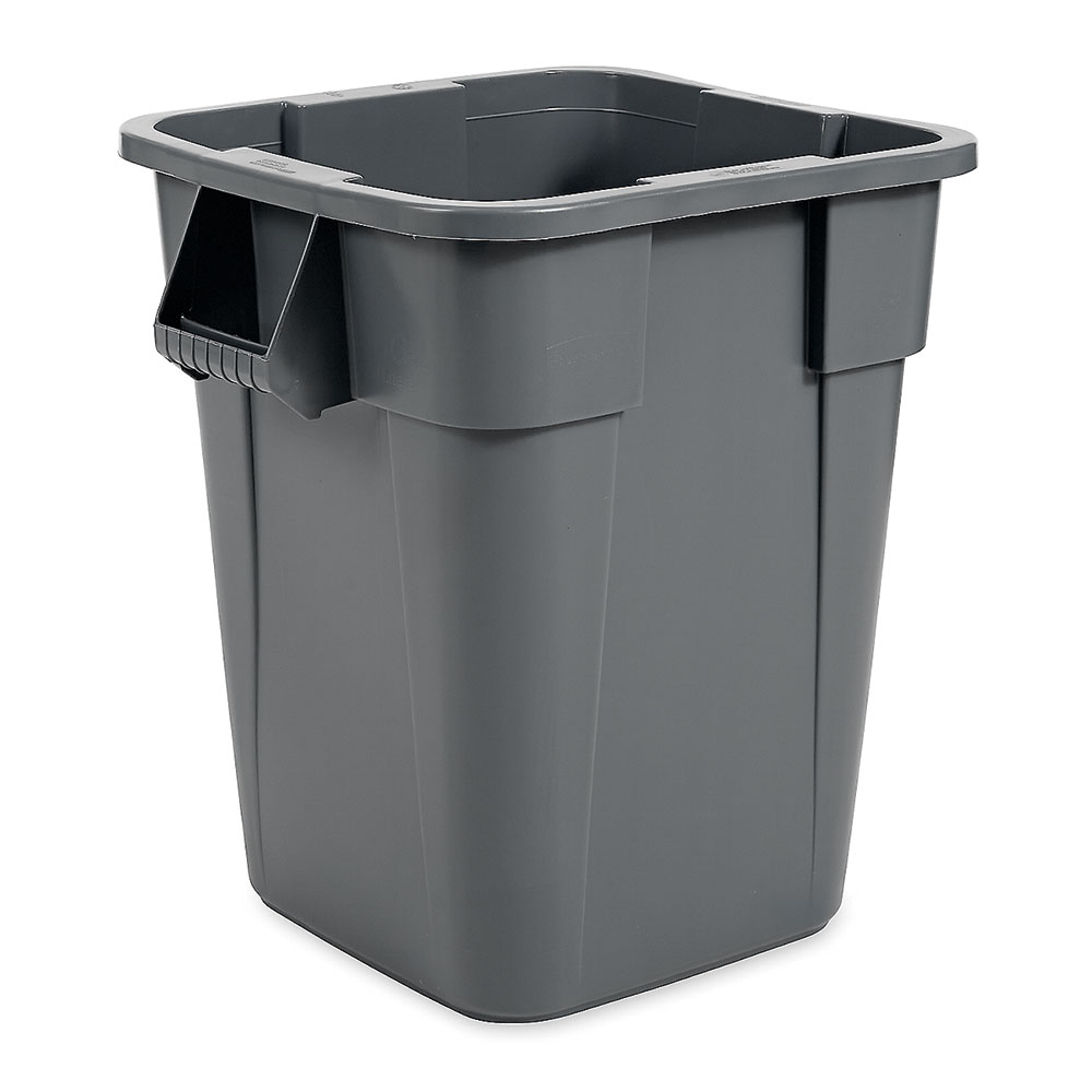 Rubbermaid FG353600GRAY 40-gallon Brute Trash Can - Plastic, Square, Built-in Handles