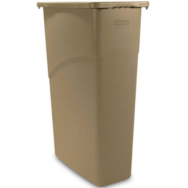 "Rubbermaid FG354000BEIG 23-gal Rectangle Slim Trash Can, 20""L x 11""W x 30""H, Beige"