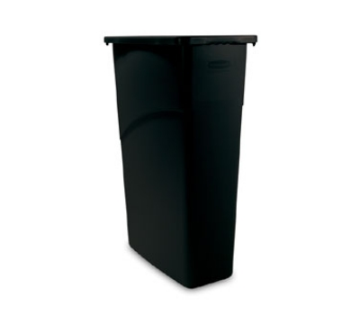 Rubbermaid FG354000BLA Slim Jim Waste Container 23 Gallon 11 in W x 30 in H All Plastic Black Restaurant Supply