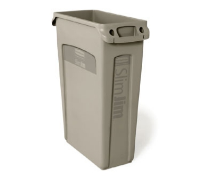 Rubbermaid FG354060BEIG 23-gal Slim Jim Container - Venting Channels, Beige