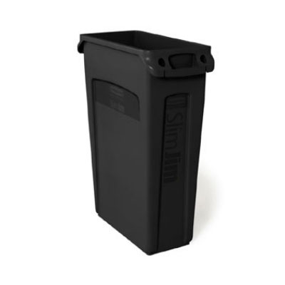 "Rubbermaid FG354060BLA 23-gal Rectangle Slim Trash Can, 22""L x 11""W x 30""H, Black"