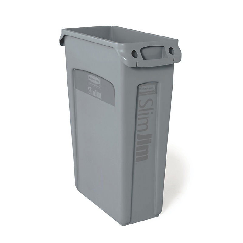 "Rubbermaid FG354060GRAY 23-gal Rectangle Slim Trash Can, 22""L x 11""W x 30""H, Gray"