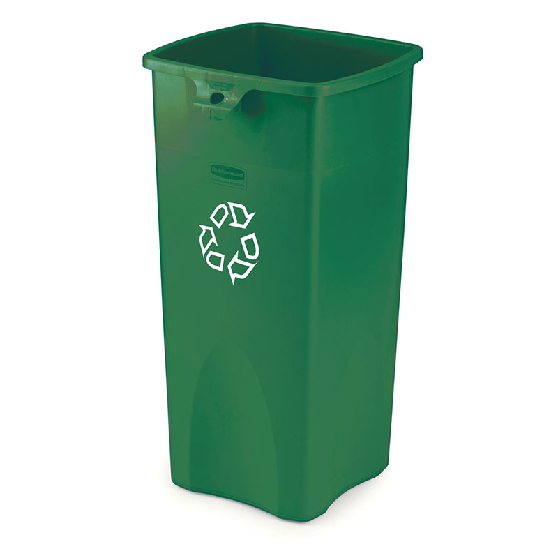 Rubbermaid FG356907GRN 23-gal Untouchable Square Recycling Container - Green