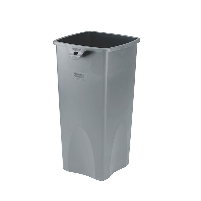 Rubbermaid FG356988GRAY 23-gallon Commercial Trash Can - Plastic, Square, Food Rated