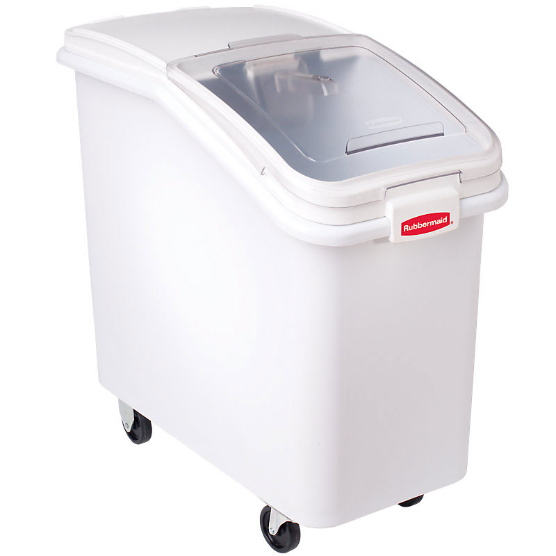 Rubbermaid FG360288WHT ProSave Ingredient Mobile Bin - 3-1/2 cu ft, White Base/Clear Lid