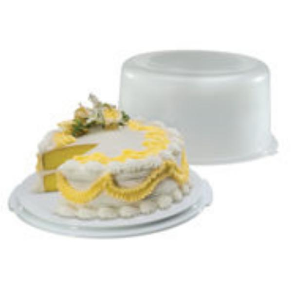 Rubbermaid FG3900RDWHT Serve 'N Saver Cake Keeper, 10 in Cake/Pie, See-Thru Lid, White