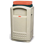 Rubbermaid FG396300BEIG 50-gal Plaza Container with Tray Top - Beige