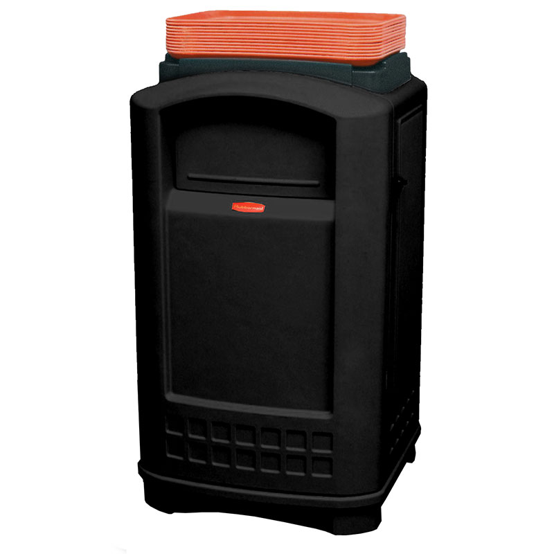 Rubbermaid FG396300BLA 50-gal Indoor/Outdoor Decorative Trash Can - Plastic, Black