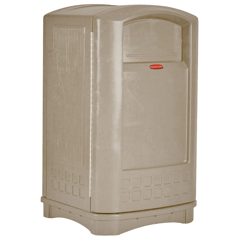 Rubbermaid FG396400BEIG 50-gal Outdoor Decorative Trash Can - Plastic, Beige