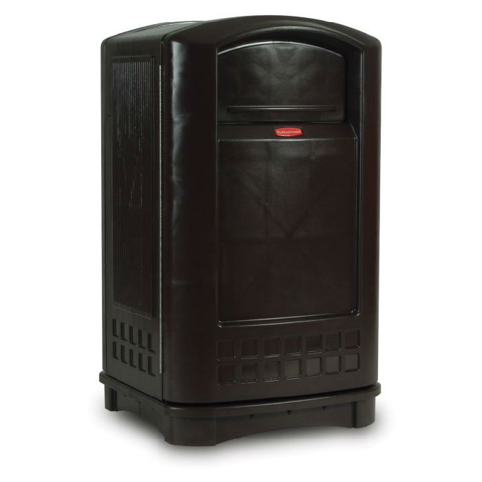 Rubbermaid FG396400BLA 50-gal Outdoor Decorative Trash Can - Plastic, Black