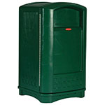 Rubbermaid FG396400DGRN 50-gal Outdoor Decorative Trash Can - Plastic, Dark Green
