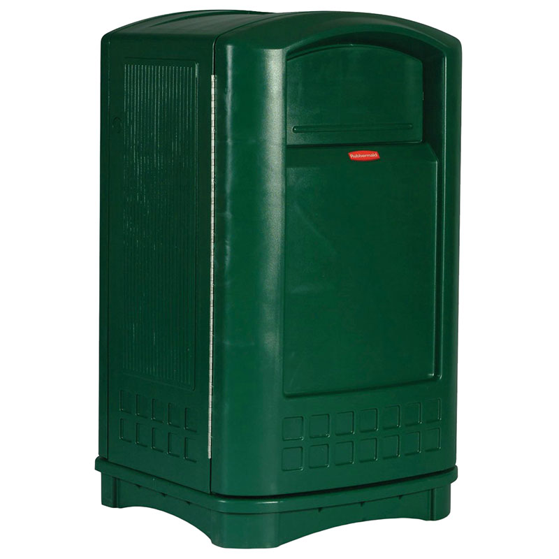 Rubbermaid FG396400DGRN 50-gal Plaza Container  - Swing Door, Dark Green