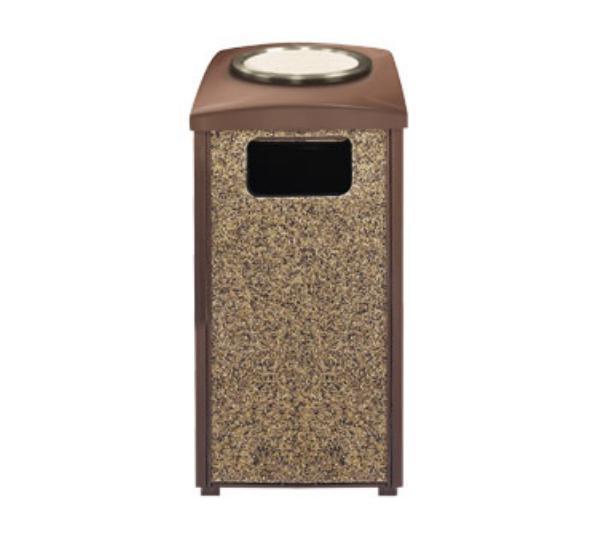 Rubbermaid FGR18WU201PL 24-gal Square Ash/Trash Receptacle - Plastic Liner, Brown/Desert Brown Stone