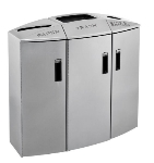 Rubbermaid 3486041 45-gal Recycling Station - Slide-Out Liner, 3 Waste Stream, Silver Metallic