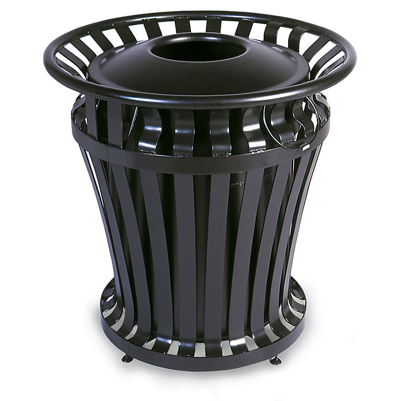 Rubbermaid FG402100BLA 32-gal Outdoor Decorative Trash Can - Metal, Black
