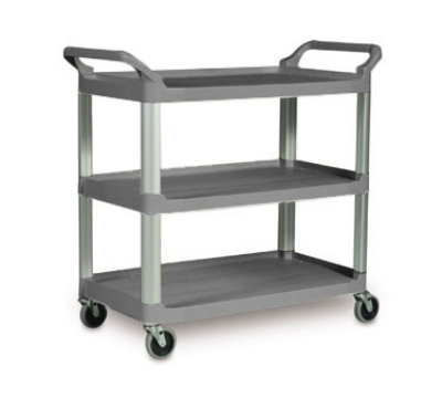 Rubbermaid FG409100GRAY 3-Shelf Xtra Utility Cart - 300-lb Capacity, Open Sided, Gray