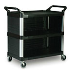"Rubbermaid FG409300BLA 40.625""L Polymer Bus Cart w/ (3) Levels, Shelves, Black"