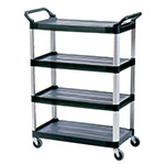 Rubbermaid FG409600BLA 3-Level Polymer Utility Cart w/ 300-lb Capacity, Raised Ledges