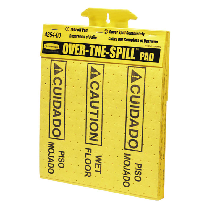 "Rubbermaid FG425400YEL Over-the-Spill Pad Tablet - ""Caution Wet Floor"" 16-1/2x14"" Yellow"