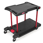 Rubbermaid FG430000BLA 2-Level Polymer Utility Cart w/ 400-lb Capacity, Raised Ledges