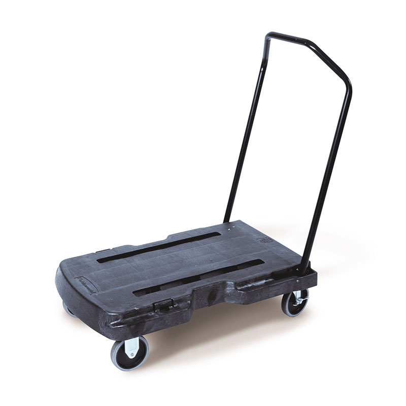 Rubbermaid FG440186BLA Triple Standard Trolley - 400-lb Capacity, Black