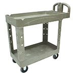 Rubbermaid FG450088BEIG 2-Level Polymer Utility Cart w/ 500-lb Capacity, Raised Ledges