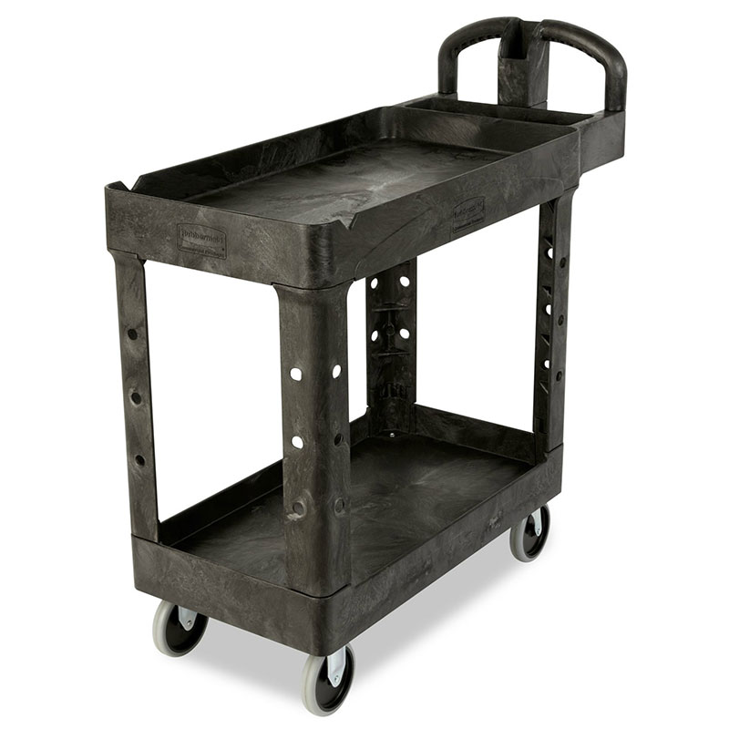 "Rubbermaid FG450088BLA 2-Shelf Utility Cart - 500-lb Capacity, Open Base, 5"" Castors, Black"