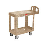 Rubbermaid FG450500BEIG 2-Shelf Utility Cart - 400-lb Capacity, Open Base, Beige